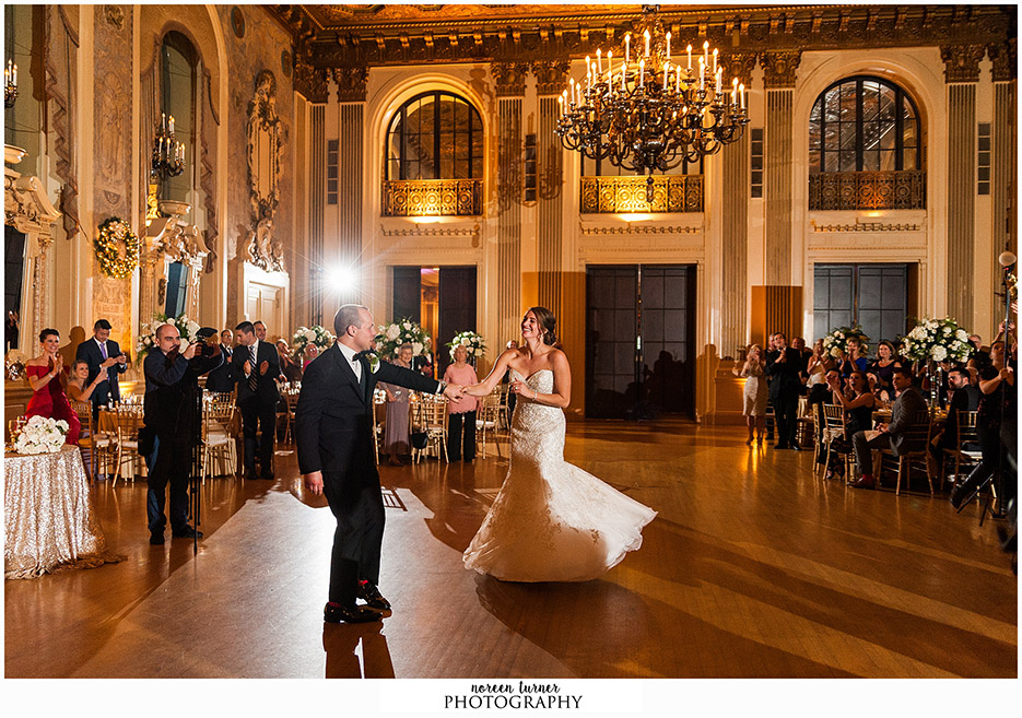 A stunning and elegant Hotel DuPont wedding with a gold and Christmas theme