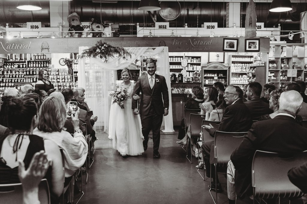 A special summer Reading Terminal wedding featuring City Hall, Magic Gardens, and Dirty Frank's bar.