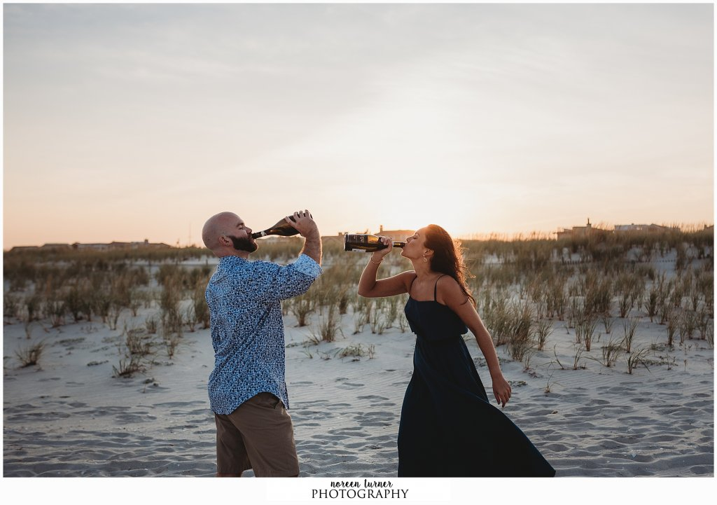 A golden, end-of-summer Barnegat Light and Long Beach Island engagement session