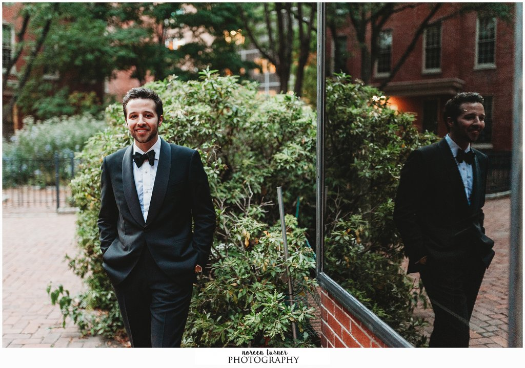 Groom portraits at Friends Center in Philadelphia