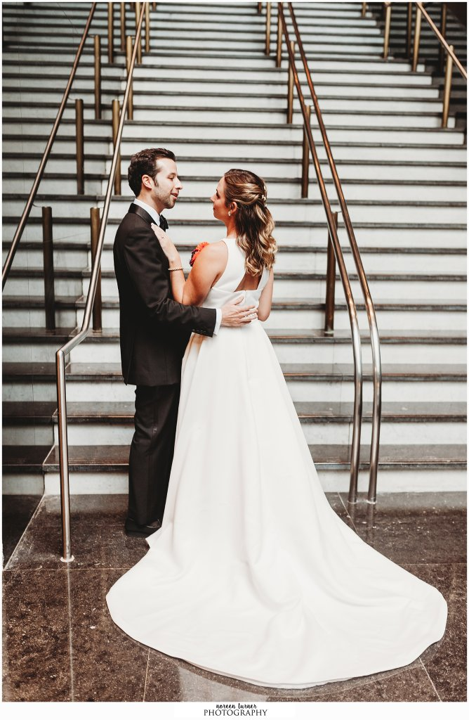 First look with bride and groom at Loews Hotel Philadelphia