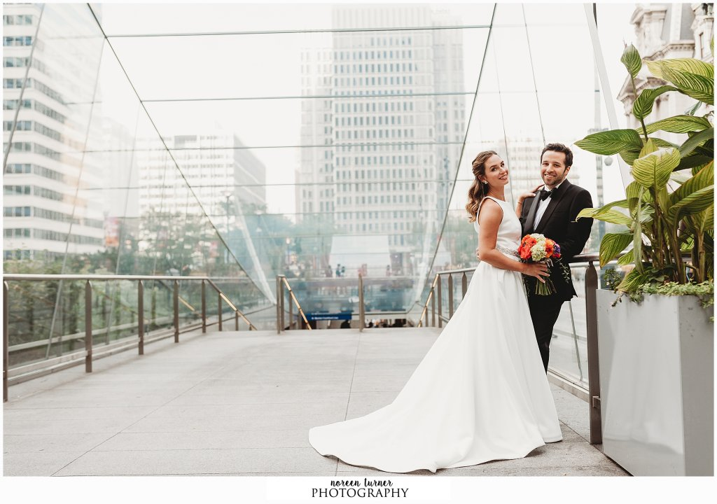 Bride and groom portraits at Dilworth Park for a fall Reading Terminal Market wedding