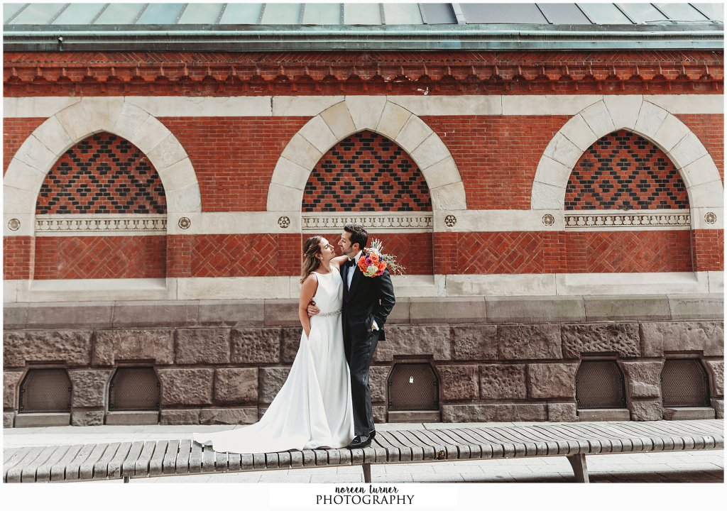 Bride and groom portraits at the PAFA historic building for a fall Reading Terminal Market wedding