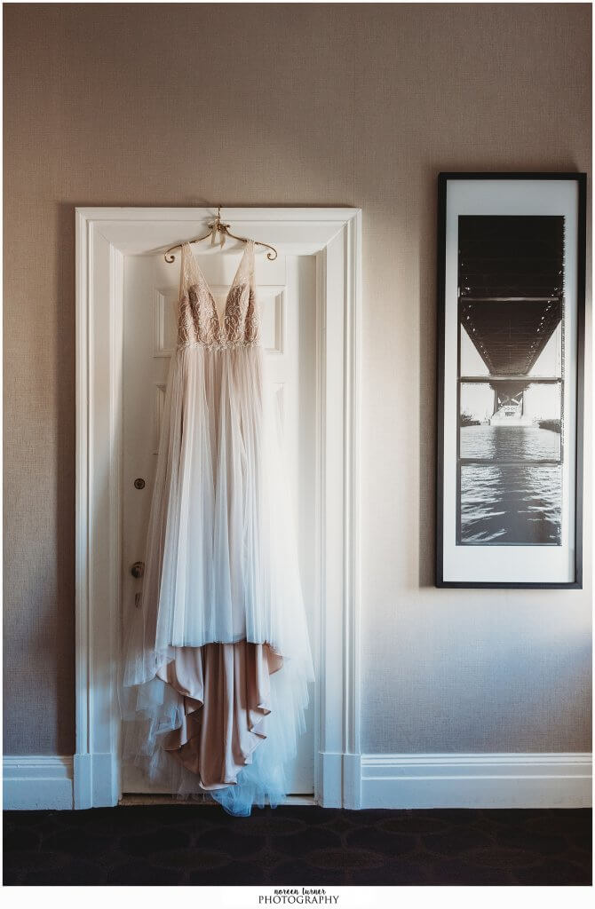 Hyatt at the Bellevue wedding in Philadelphia by Noreen Turner Photography, BHLDN Whispers and Echoes gown