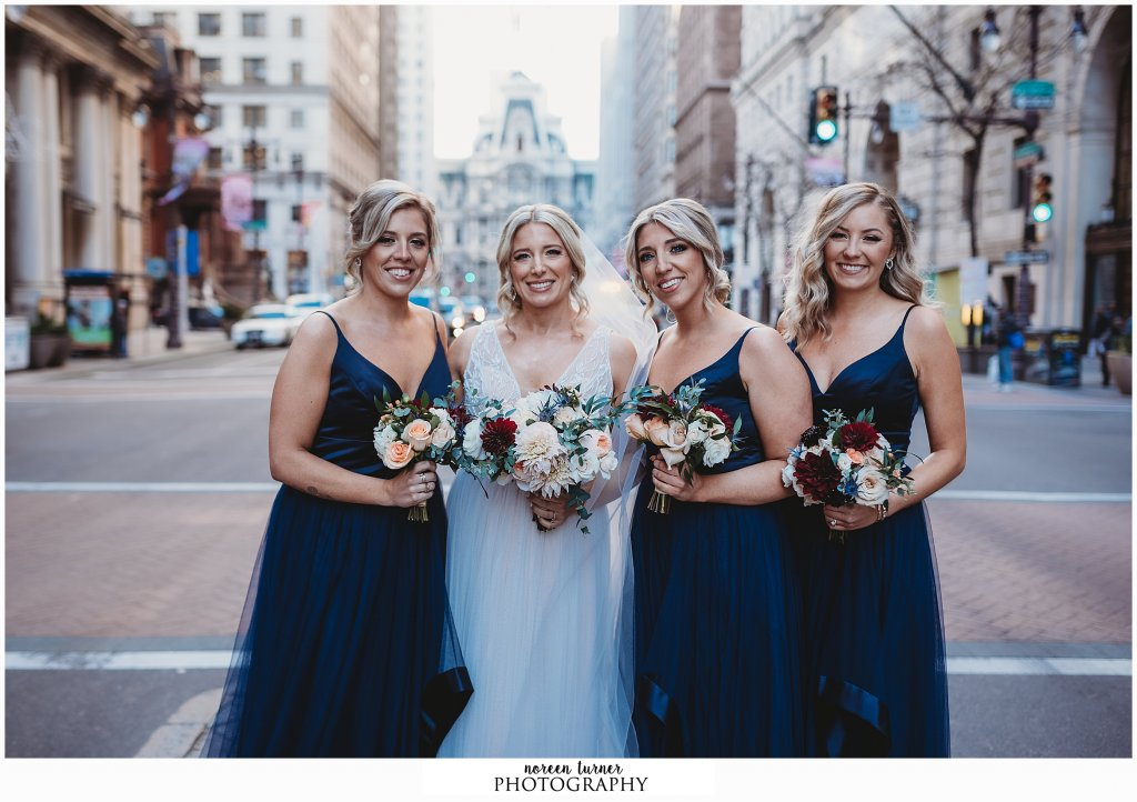 Hyatt at the Bellevue wedding in Philadelphia by Noreen Turner Photography, Hayley Page bridesmaid gowns